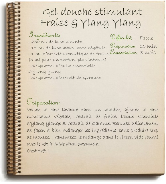 Recette Gel douche stimulant Fraise & Ylang Ylang MyCosmetik