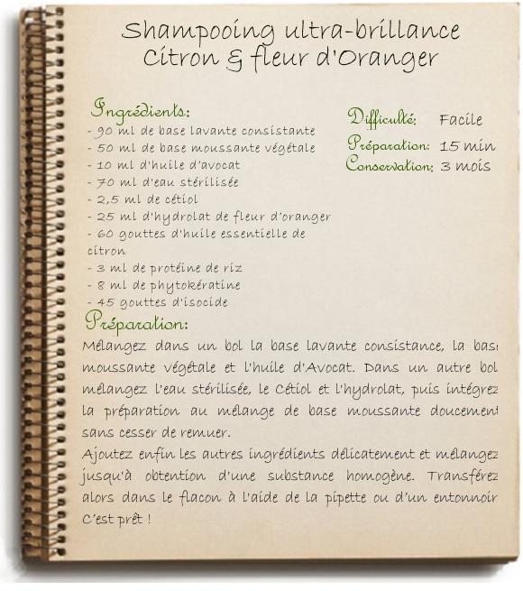 Recette Shampooing ultra-brillance Citron & fleur d'Oranger
